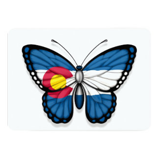 "Colorado Butterfly Flag 5"" X 7"" Invitation Card"