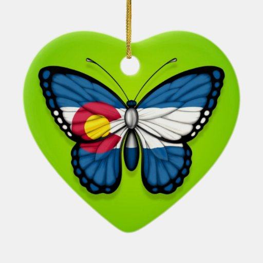 Colorado Butterfly Flag on Green Christmas Tree Ornament