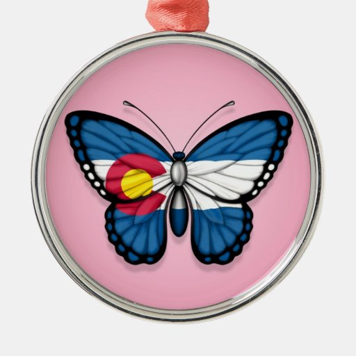 Colorado Butterfly Flag on Pink Ornaments