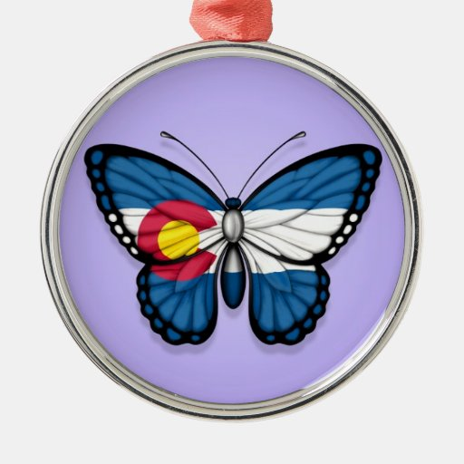 Colorado Butterfly Flag on Purple Christmas Ornaments