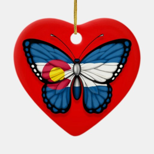 Colorado Butterfly Flag on Red Christmas Ornaments