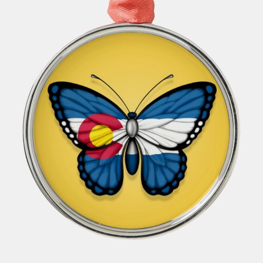 Colorado Butterfly Flag on Yellow Christmas Tree Ornament