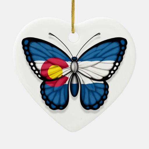 Colorado Butterfly Flag Christmas Ornaments