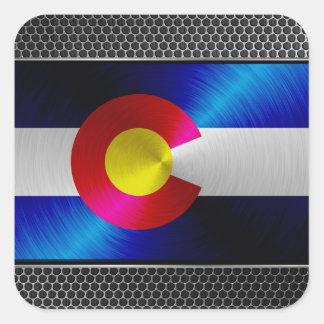 Colorado cepilló la bandera del metal calcomanía cuadrada