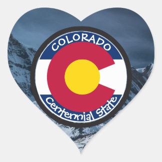 Colorado Circular Flag Heart Sticker
