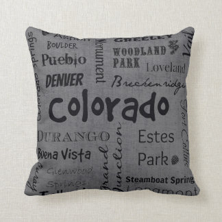 Colorado cities in grey/black throw pillow