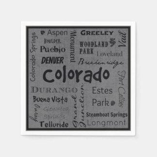 Colorado cities typography napkins