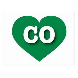 Colorado CO green heart Postcard