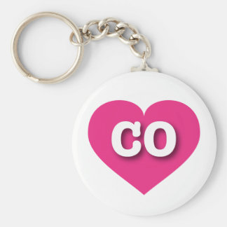 Colorado CO hot pink heart Basic Round Button Keychain