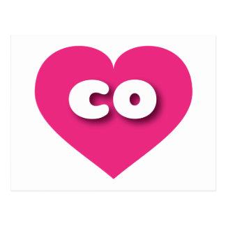 Colorado co hot pink heart postcard
