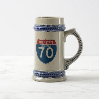 Colorado CO I-70 Interstate Highway Shield - Beer Stein
