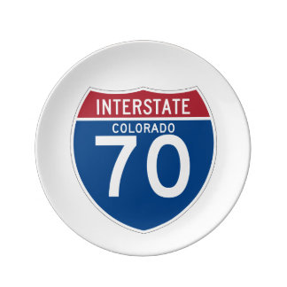 Colorado CO I-70 Interstate Highway Shield - Dinner Plate