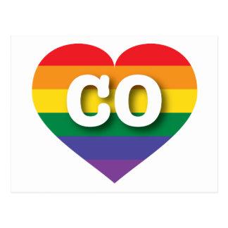 Colorado CO rainbow pride heart Postcard