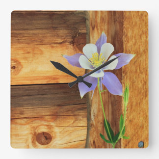 Colorado Columbine and Wood Square Wall Clock