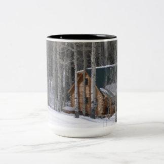 Colorado Country Snowy Christmas Two-Tone Coffee Mug