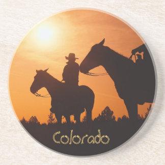 Colorado cowboy on horseback Sandstone Coaster