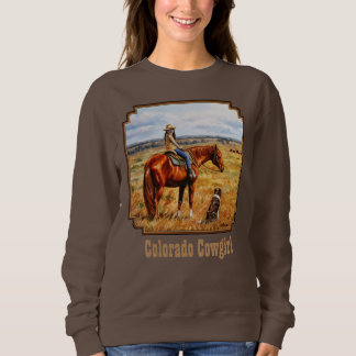 Colorado Cowgirl on Cattle Horse Sweatshirt