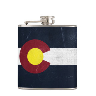 Colorado Dark Grunge Flag Flask