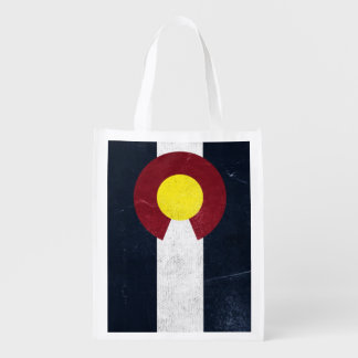 Colorado Dark Grunge Flag (One-Sided) Reusable Grocery Bag