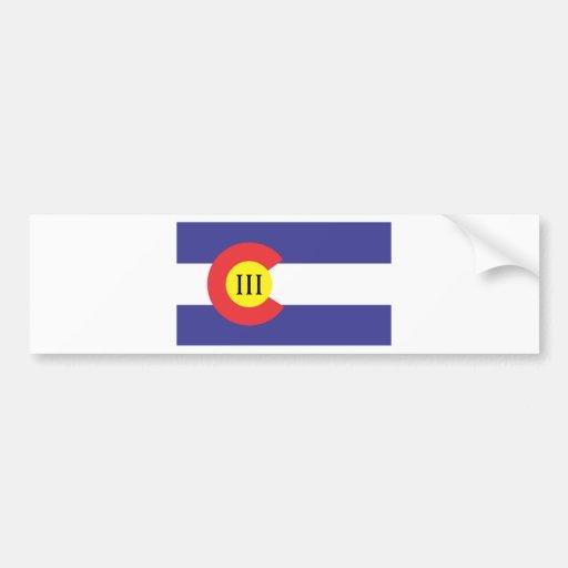 Colorado el III% Etiqueta De Parachoque
