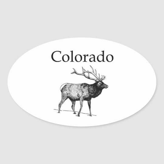Colorado Elk (line art) Oval Sticker