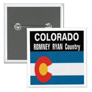 COLORADO es botón del país de Romney Ryan Pin Cuadrado