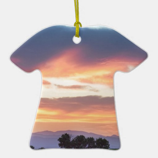 Colorado Farmers Sunset Double-Sided T-Shirt Ceramic Christmas Ornament