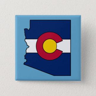 Colorado flag Arizona outline square pin button
