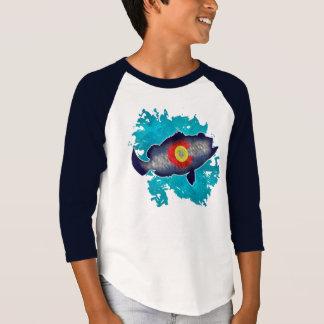 Colorado flag bass fish kids raglan shirt