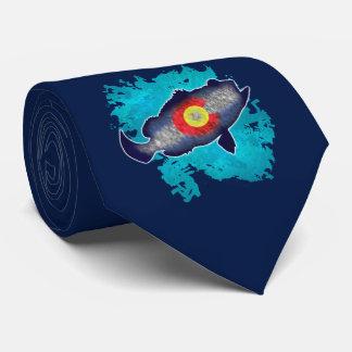 Colorado flag bass fish necktie