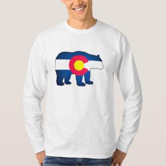 Colorado flag bear mens long sleeve shirt