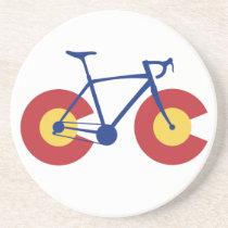 Colorado Flag Bicycle Sandstone Coaster