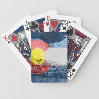 colorado flag brick wall bicycle playing cards