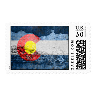 colorado flag brick wall postage