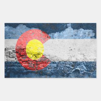 colorado flag brick wall rectangular sticker
