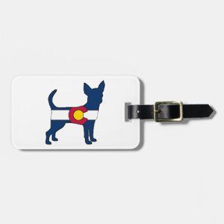 Colorado flag chihuahua dog luggage tag