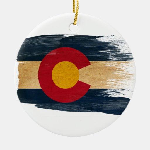 Colorado flag double sided ceramic round christmas