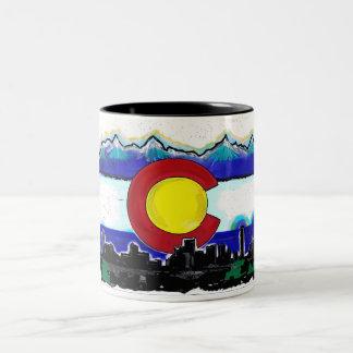 Colorado flag denver skyline artistic coffee mug