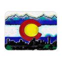 Colorado flag denver skyline artistic magnet