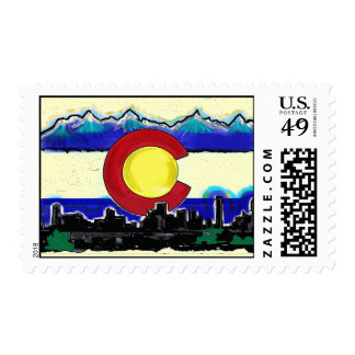 Colorado flag denver skyline artistic stamps