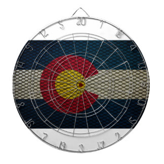 Colorado Flag Expanded Metal Awesome Dartboard With Darts