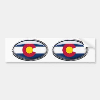 Colorado Flag Glass Oval Bumper Sticker
