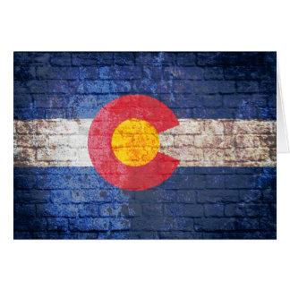 Colorado flag grunge brick wall greeting card