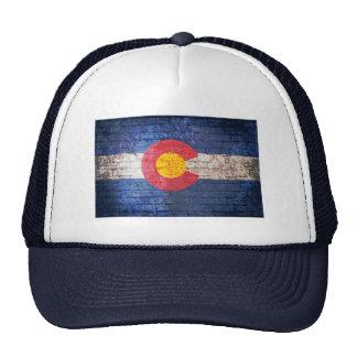 Colorado flag grunge brick wall hat