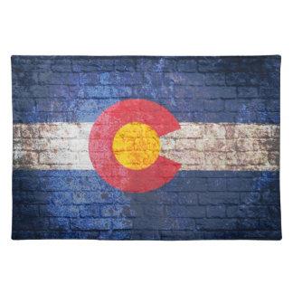 Colorado flag grunge brick wall placemats
