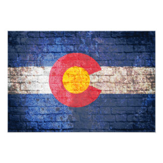 Colorado flag grunge brick wall poster