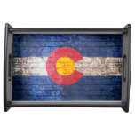 Colorado flag grunge brick wall serving tray