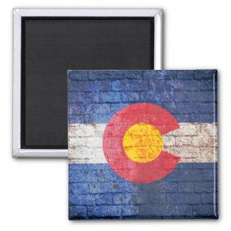 Colorado flag grunge brick wall square magnet