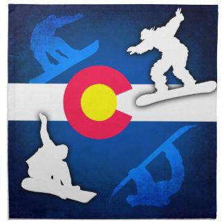 Colorado flag grunge snowboarder cloth napkin