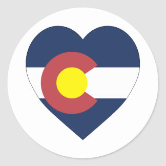 Colorado Flag Heart Classic Round Sticker